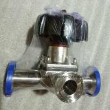 Мембранный клапан заварки Т-образной рукоятки AISI316L с двойной диафрагмой