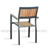 Silla del marco de la aleación de aluminio con el asiento de madera de la ceniza para el restaurante y el jardín al aire libre (SP-OC723)