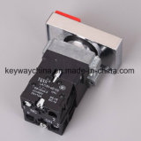 キー溝によって正方形照らされるヘッド22mm押しボタンスイッチ