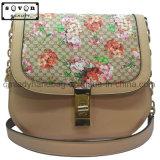 황금 색깔 사슬 결박을%s 가진 꽃 패턴 운반물 핸드백