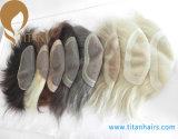 Toupee 100% человеческих волос Remy верхнего качества с Frontal шнурка