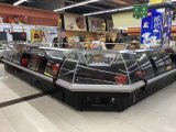 carne do comprimento de 3.75m grandes e refrigerador do caso de indicador do supermercado fino