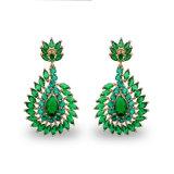 Orecchini a cristallo verdi placcati oro dell'orecchino 18k della vite prigioniera di fascino delle donne