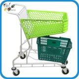 Aluminiumlaufkatze-Einkaufswagen des Plastikkorb-50L