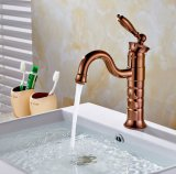 Flg Rose Golden Bathroom Basin Faucet Single Handle