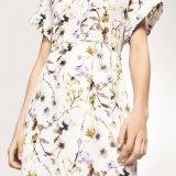 Form-Frauen-Freizeit dünner V-Stutzen Chiffon- gedrucktes Verband-Shirt-Kleid