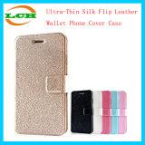 Ultradünner Silk Kippen-Leder-Mappen-Telefon-Deckel-Fall