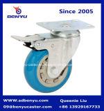 Rueda lateral del echador del poliuretano azul del color de la calidad que bloquea