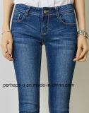 Obscuridade das mulheres da alta qualidade - calças longas das calças de brim magros azuis da sarja de Nimes do estiramento