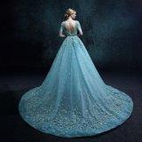 Vraie robe de mariage Backless de lacet de douille de short de photo (ZXB-37)