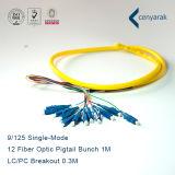 Qualité 9/125 groupe uni-mode de tresse de fibre optique de LC/PC 12