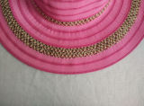 100%년 폴리에스테 넓은 리본 줄무늬 리본 밀짚 모자