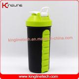 bouteille en plastique de dispositif trembleur de la protéine 700ml avec le traitement, avec le blockhaus de 7 jours à l'intérieur