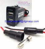 A C.C. 12V Dual carregador do carro do USB com o áudio que cobra o ajuste rápido para Nissan/Toyota/Toyota Vigo/Honda/Mitsubishi/Suzuki/Mazda