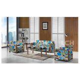 Sofà di legno di svago del sofà del salotto del piedino con la tappezzeria di Greasedleather