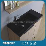 Meubles en bois de salle de bains de placage de vente chaude avec le bassin