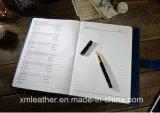 Agenda de cuero de encargo de la fuente de oficina del libro del diario del Hardcover de la PU