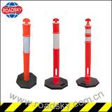 Postes de amarração provisórios removíveis baixos de borracha plásticos da estrada da T-Parte superior vermelha