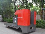 Caminhão de pálete elétrico com a plataforma grande para carreg o trabalho feito com ferramentas