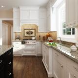 耐久の使用されたステンレス鋼は白い木製の食器棚を扱う