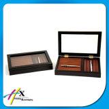 Caja de embalaje de madera de la marca de fábrica de la visualización de lujo de la pluma con la guarnición del ante del terciopelo