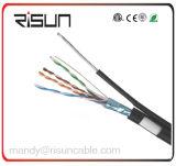 Cable doble del ftp Cat5e de la chaqueta con el mensajero de acero para el cableado de arriba