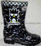 Boys/GirlsのためのCartoon黒いPVC Rain Shoes