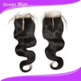 Encierro superior bajo de seda del cordón de la nueva llegada 2015 con la onda peruana del cuerpo del pelo del pelo del bebé