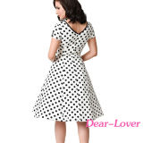 Черное & белое поставленное точки платье качания втулки крышки