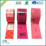 Лента упаковки красного цвета напечатанная акриловая слипчивая для запечатывания коробки