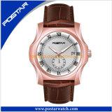 Relógio de salto de quartzo da tâmara do vendedor superior com a faixa do couro genuíno