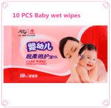 10 Katoenen van de Zorg van de Huid van de Baby van PCs Zachte Niet-geweven Nat veegt af