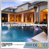 Abgezogene beige natürliche Kalkstein-Fliese für fertig werdenen/Pool-Pflasterung den Innenswimmingpool