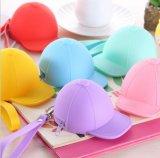 Carpeta creativa de la cremallera de la forma del sombrero del silicón del color del caramelo