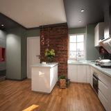 Gabinete de cozinha branco da laca da forma do projeto U de Oppein Ásia (OP15-L08)