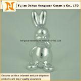 イースター装飾のためのスライバ陶磁器のウサギをめっきする動物の整形陶磁器のクラフト