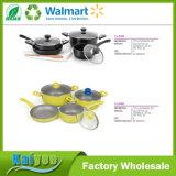 8 Stück-Küche-Non-Stick schwarzer weicher Griffaluminiumcookware-Sets