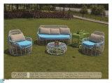 Mobília francesa do jardim do pátio do Rattan do estilo com trole
