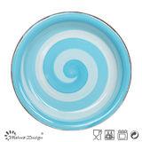 glaçure bleue peinte à la main de jeu de dîner 16PCS avec le RIM balayé