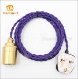 英国工業規格3pinのプラグのイギリスの市場のためのScoketのツイスト織物の電源コード