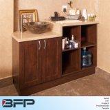Estilo americano das vaidades de banheiro de madeira maciça com lavatório de cerâmica e laminados de vidro