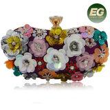 Los bolsos de tarde populares más nuevos del partido del precio de fábrica de señora Clutch Purse del diseño de la flor con el encadenamiento Eb892
