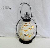Lanterna di ceramica illuminata LED con la maniglia del metallo