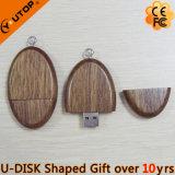 Regalo de madera de la promoción del mecanismo impulsor del flash del USB de la nuez oval caliente (YT-8119)