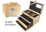Contenitore di monili di cuoio del Brown di disegno Handmade di lusso con la serratura codificata