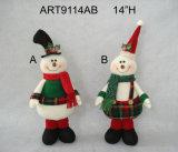 "17 ""H florales de Navidad Santa y Snowman Home Gift-2asst"