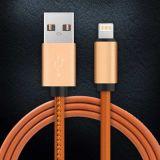 Конструкция 2.1A способа зарядного кабеля USB стежком кожаный