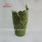 2 размер, уникально конструкции в листья. Керамическая ваза