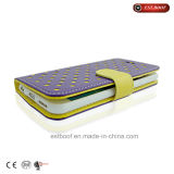 Caja del teléfono de los puntos de polca del tirón del cuero de la PU para el iPhone