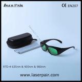 Alta seguridad de las gafas de seguridad de laser de los anteojos de la protección del laser para los lasers rojos 635nm, los lasers del diodo 905nm y 980nm con el marco 33